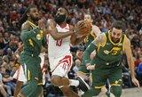 """30 taškų seriją tęsiantis J.Hardenas vedė """"Rockets"""" į pergalę"""