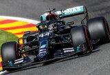 """L.Hamiltonas Belgijoje pagerino rekordą, """"Ferrari"""" pramušė dugną"""