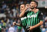"""Italijoje pergalę iškovoję """"Sassuolo"""" pakilo iki antros pozicijos"""
