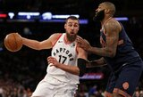 """Arti sezono rezultatyvumo rekordo buvusi """"Raptors"""" sutraiškė """"Knicks"""""""