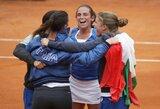 """""""FedCup"""" pusfinalyje – italių pergalė prieš čempionių titulą gynusias čekes"""