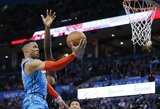 """R.Westbrookas atliko trigubą dublį, bet """"Thunder"""" patyrė išskirtinį pralaimėjimą"""