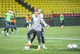 Lietuvos futbolo rinktinė surengė treniruotę prieš skrydį į Portugaliją