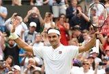 R.Federeris užtikrintai pateko į trečiąjį Vimbldono ratą, R.Berankio skriaudikas laimėjo vieną ilgiausių mačų