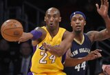 """K.Bryantą vėl nugalėjo sveikatos problemos, tačiau """"Lakers"""" nutraukė pralaimėjimų seriją"""
