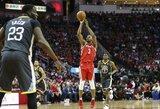 """""""Rockets"""" antrą kartą patiesė """"Warriors"""" ir nutraukė įspūdingą čempionų seriją"""