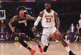 """L.Jamesas atliko trigubą dublį, """"Lakers"""" pirmąjį kėlinį laimėjo 26 taškais"""