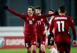 Sensacingą pergalę iškovoję Latvijos futbolininkai netapo blogiausia Baltijos šalių rinktine Europos čempionato atrankoje