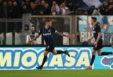 """Lietaus merkiamoje Romoje – M.Icardi dublis ir šešta iš eilės """"Inter"""" pergalė"""