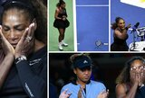 """""""US Open"""" finale neregėti dalykai: S.Williams išplūdo teisėją ir sulaukė trijų pražangų, 20-metė japonė iškovojo pirmą tokio rango titulą karjeroje"""