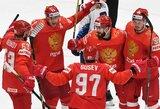 Rusai po 7 įvarčių dramos eliminavo amerikiečius iš kovos dėl pasaulio čempionato medalių ir žengė į pusfinalį