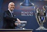 """Čempionų lygos burtai: """"Arsenal"""" aštuntfinalyje kovos su """"Barcelona"""", """"Bayern"""" susitiks su """"Juventus"""""""