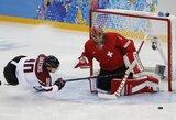 Paskutinėmis sekundėmis įvartį praleidę latviai pralaimėjimu pradėjo Sočio olimpiadą