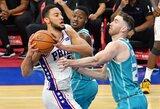 """""""76ers"""" pratęsė pergalių seriją prieš """"Hornets"""""""