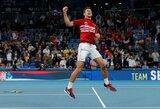 """""""ATP Cup"""" finalas: N.Djokovičiaus pergalė prieš R.Nadalį, ispano pasitraukimas iš dvejetų mačo ir serbų triumfas"""