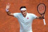 Dėl lietaus beveik 24 valandoms nukeltuose mačuose – R.Federerio ir R.Nadalio pergalės bei netikėtas turnyro Madride pusfinalininko kluptelėjimas