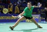 Lietuvos garbę tarptautiniame badmintono turnyre Kaune toliau gins tik A.Stapušaitytė