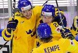 Švedai užtikrintai pradėjo pasaulio ledo ritulio čempionatą, danai nugalėjo olimpinius vicečempionus