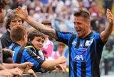 """Šeštą pridėto laiko minutę įmuštas įspūdingas įvartis leido """"Atalanta"""" klubui įveikti """"Milan"""" ekipą (+ kiti rezultatai)"""