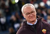 """C.Ranieri debiutas neprisvilo: raudona kortelė nesutrukdė """"Roma"""" ekipai džiaugtis pergale"""