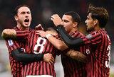 """Ketvirtą pergalę sezone iškovoję """"Milan"""" pakilo į pirmąjį dešimtuką"""