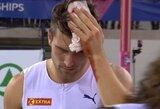 Fatališka nesėkmė: Europos čempionato lyderis po šuolio į aukštį prasikirto galvą
