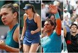 """""""Roland Garros"""" turnyre paaiškėjo visos vyrų ir moterų vienetų varžybų ketvirtfinalio poros"""