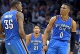 """Beveik šimtą taškų pelnęs """"Thunder"""" duetas atvedė komandą į pergalę beprotiškame mače"""