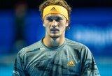 Netikėtai Bazelyje kritęs A.Zverevas rizikuoja likti už baigiamojo metų ATP turnyro borto, S.Tsitsipas lauks R.Berankio mačo pabaigos