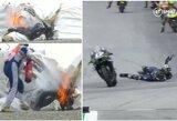 """""""MotoGP"""" drama: sugedus stabdžiams ispanas šoko nuo 200 km/val. greičiu lekiančio motociklo"""