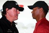 Viltis sporto fanams? T.Woodsas ir Ph.Mickelsonas karantino metu ruošiasi revanšui