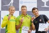 Lietuvos vasaros biatlono riedslidėmis čempionai – K.Dombrovskis ir N.Paulauskaitė
