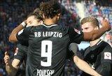 """""""RB Leipzig"""" nugalėjo """"Hoffenheim"""", tuo tarpu """"Stuttgart"""" žaidėjas išmesdamas kamuolį iš užribio pasiuntė jį į savus vartus, tačiau klubas vis tiek iškovojo pergalę"""