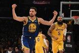 """K.Thompsonas užfiksavo dar vieną tritaškių rekordą, """"Warriors"""" sutriuškino """"Lakers"""""""