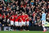 """Vaikiškai gynyboje klydę """"Manchester City"""" antrą kartą """"Premier"""" lygos sezone nusileido prieš """"Manchester United"""""""