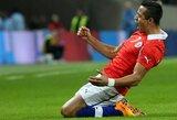 A.Sanchezo vedama Čilė įveikė Angliją, Italija ir Vokietija sužaidė lygiosiomis (+ kiti rezultatai)