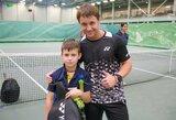 Jaunųjų tenisininkų treniruotėje  –  netikėtas R.Berankio apsilankymas