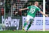 """""""Werder"""" nugalėjo """"Wolfsburg"""" ir Vokietijos čempionate iškovojo ketvirtąją pergalę"""