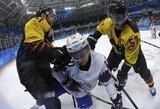 Vokietijos ledo ritulininkai džiaugėsi pirma pergale olimpinėse žaidynėse