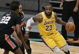 """""""Lakers"""" su trigubą dublį atlikusiu L.Jamesu įsirašė pergalę"""