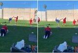 Futbolo treniruotėje MMA judesius rodęs vartininkas nusprendė pakeisti sporto šaką