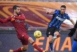 """86-ąją minutę įvartį pelniusi """"AS Roma"""" išplėšė lygiąsias su """"Inter"""""""