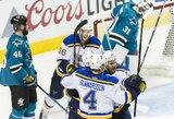 """""""Blues"""" suteikė šansą antram komandos vartininkui, kuris nenuvylė: """"Sharks"""" patyrė antrą pralaimėjimą konferencijos finale"""