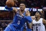 """R.Westbrookas surinko trigubą dublį, """"Thunder"""" patiesė autsaiderius"""
