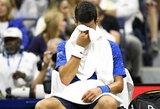 """N.Djokovičius """"US Open"""" titulo neapgins: trečiame sete prieš S.Wawrinką pasitraukė dėl traumos"""