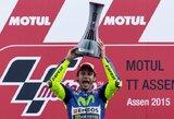 Dramatiškos lenktynės: paskutiniame posūkyje su M.Marquezu susidūręs V.Rossi išplėšė pergalę Olandijoje