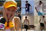 Teniso žvaigždžių karantinas: E.Bouchard vaikino paieškos ir tualetinio popieriaus iššūkis