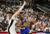 """""""Warriors"""" trečiąkart įveikė dar vieną žaidėją praradusią """"Spurs"""""""