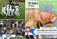 """""""Dodgers"""" po 32 metų pertraukos tapo MLB čempionais, koronavirusu užsikrėtęs beisbolininkas bučiavosi su mergina"""