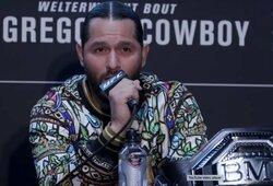 """J.Masvidalis supranta, kodėl UFC nenori jo ir C.McGregoro kovos: """"Jiems reikia, kad jis toliau laiminėtų ir UFC išlaikytų tą pinigų karvę, kuri generuoja pelną"""""""